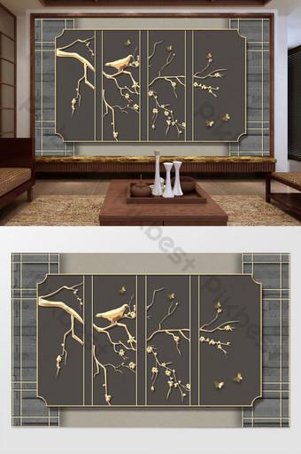 النمط الصيني الذهبي زهرة فرع الطيور الحديد المطاوع غرفة المعيشة خلفية الجدار الرمادي الديكور والنموذج قالب PSD