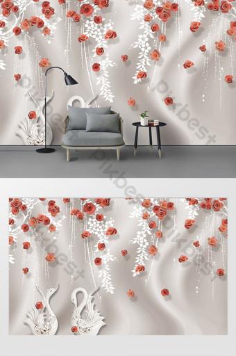 moda moderna rosa roja flor abstracta vid cisne seda fondo pared Decoración y modelo Modelo PSD