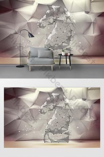 جديد الحديثة هندسية الحيوان الحصان غرفة المعيشة التلفزيون خلفية الجدار الديكور والنموذج قالب PSD