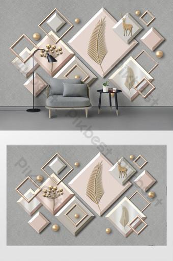 modern bergaya abstrak geometris grafis dinding latar belakang rusa daun emas Dekorasi dan model Templat PSD