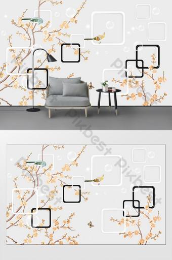 3d ستيريو الإطار الدقيق زهرة والطيور صورة التلفزيون خلفية الجدار الديكور والنموذج قالب PSD