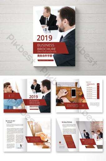 مجموعة كاملة من صور الملف التعريفي للشركات التجارية باللون الأحمر قالب PSD