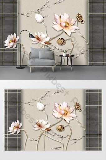 nueva pared de fondo de peces de natación de loto de hierro forjado tridimensional simple moderno Decoración y modelo Modelo PSD