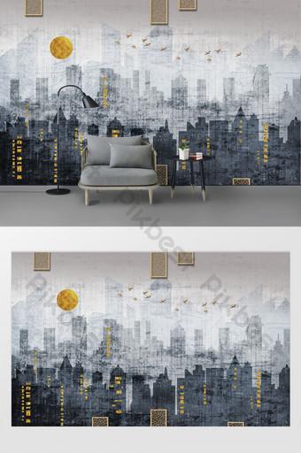 الموضة الحديثة الإبداعية الكتابة على الجدران المدينة الخلفية صورة ظلية الذهب احباط الجدار الديكور والنموذج قالب PSD