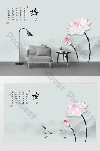 nueva pared de fondo de loto tridimensional de tinta minimalista moderna y peces Decoración y modelo Modelo PSD