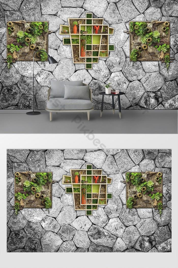 モダンなシンプルな石レンガの壁の装飾3 dステレオ背景壁画