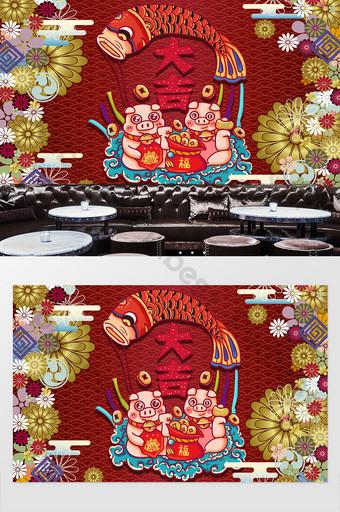 اليابانية تغري القط وجدار خلفية المطعم الديكور والنموذج قالب PSD
