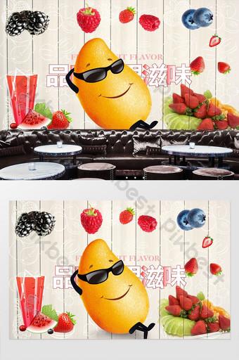 رسمت باليد الإبداعية متجر الفاكهة الفن خلفية الجدار الديكور والنموذج قالب PSD
