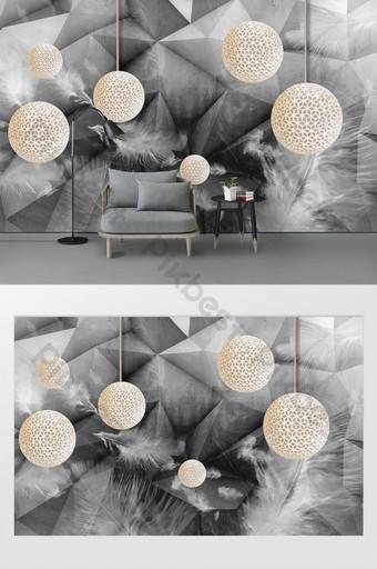 ريشة الكتابة على الجدران الموضة الحديثة كرة ثلاثية الأبعاد على خلفية رمادية الجدار الديكور والنموذج قالب PSD