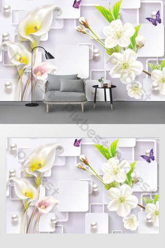 أزياء 3d حدوة زهرة بسيطة خلفية الجدار الحديثة الديكور والنموذج قالب PSD
