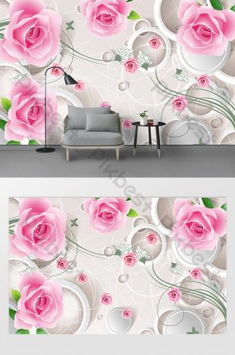 pared de fondo de la sala de bodas romántica rosa minimalista nórdica Decoración y modelo Modelo PSD