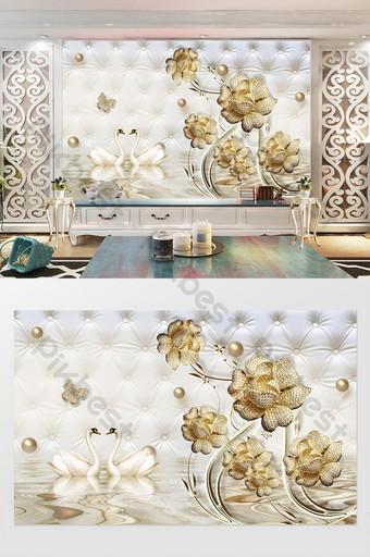 金色珠寶花天鵝浮雕分公司軟包背景牆 裝飾·模型 模板 PSD