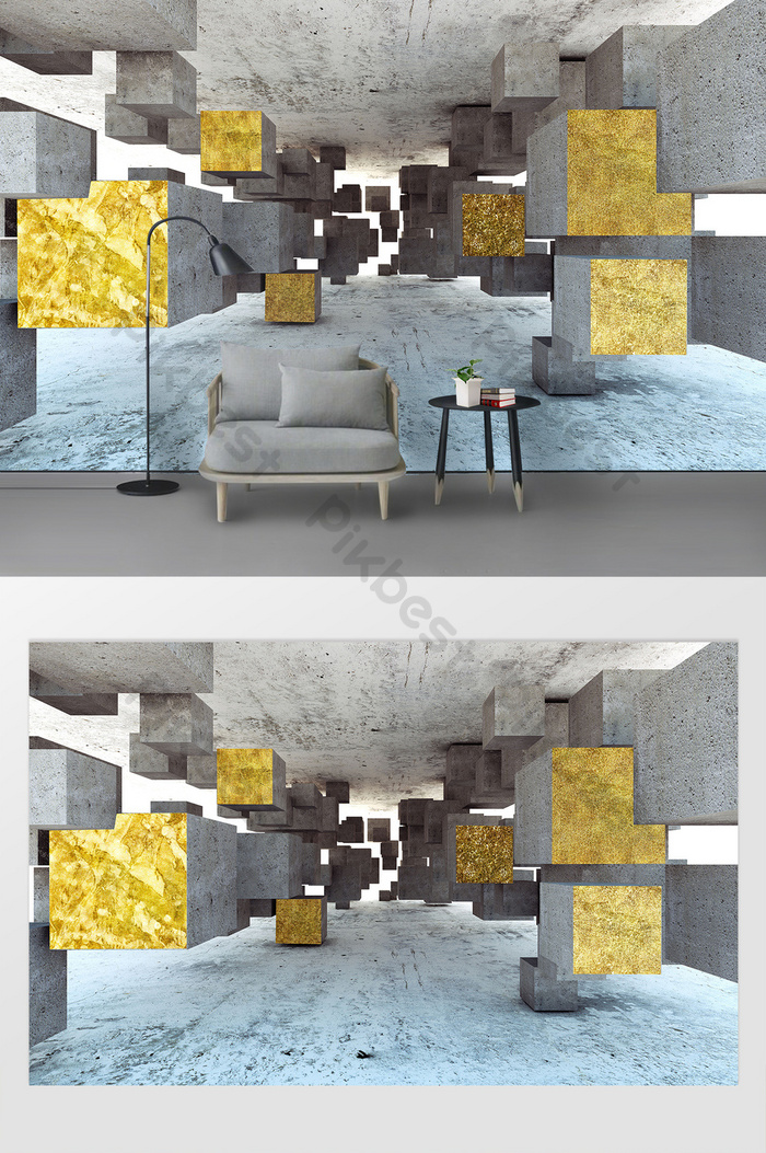 postmodern three-dimensional golden geometric bedroom living room wall