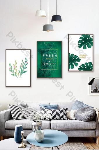 簡歐植物葉子風景客廳臥室酒店裝飾畫 裝飾·模型 模板 PSD