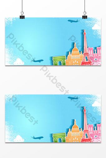 Vẽ tay cắt giấy du lịch thành phố du lịch tuần trăng mật Bản mẫu PSD