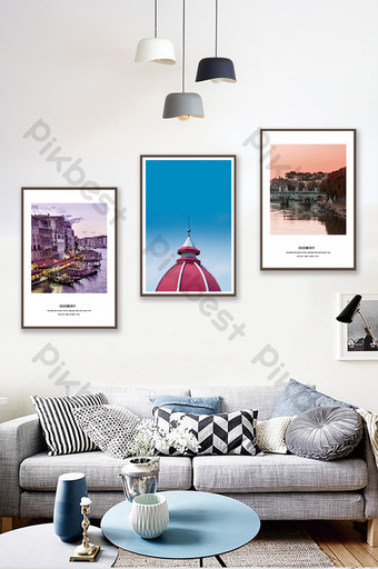 Nordic style seaside city architectural landscape living room bedroom hotel decoration painting Decors & 3D Models Template PSD