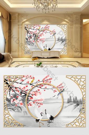 جديد الحديثة رسمت باليد الزهور الطيور الجبال الرافعات ثلاثي الأبعاد جدار خلفية الحديد المطاوع الحدود الديكور والنموذج قالب PSD