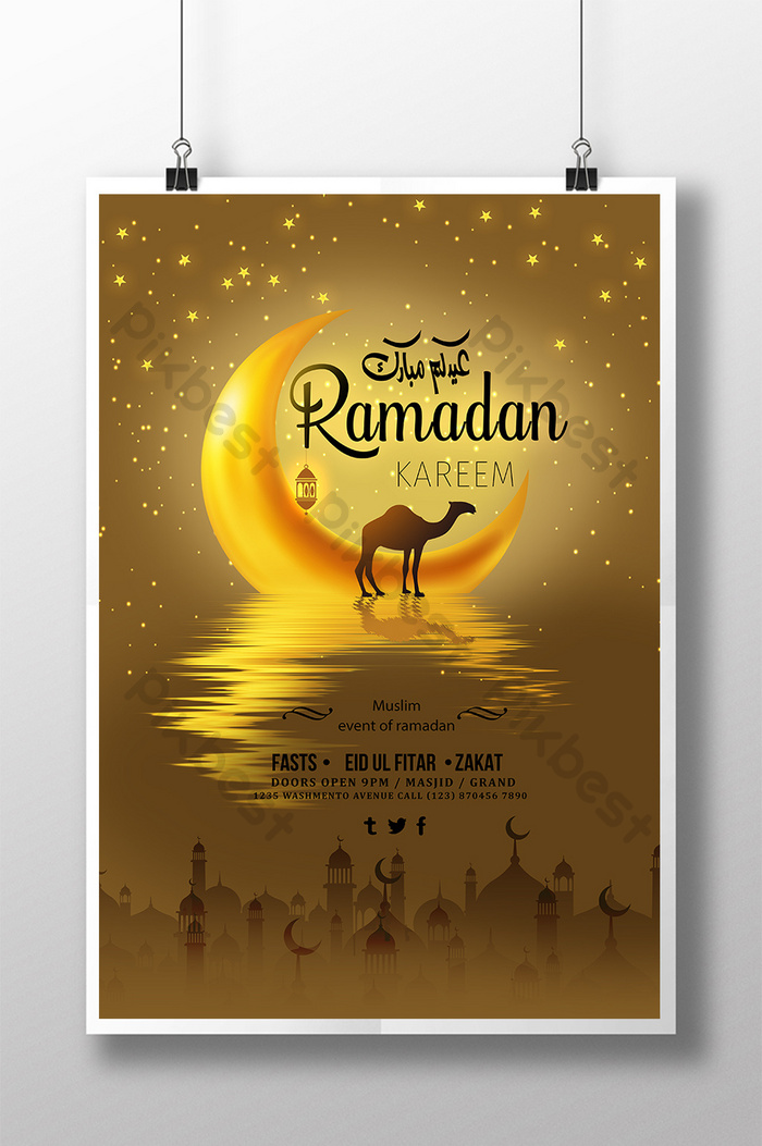 Creative golden background ramadan poster | template PSD Free