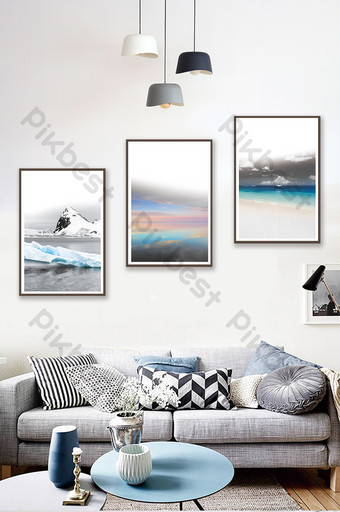 Nordic style creative black and white mountains rivers sea scenery living room bedroom decoration painting Decors & 3D Models Template PSD