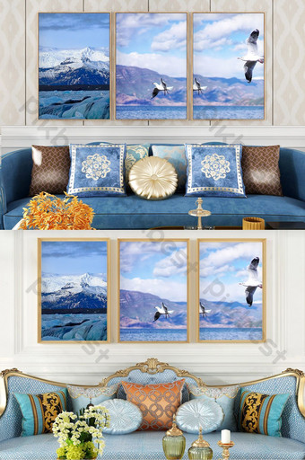 Nordic style simple sea scenery living room bedroom hotel decoration painting Decors & 3D Models Template PSD