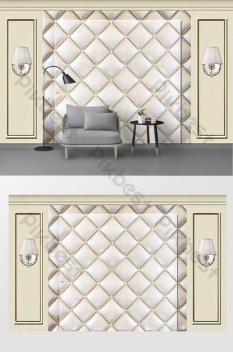 美麗的石膏線歐式風格雕刻皮革軟包3d背景牆 裝飾·模型 模板 PSD