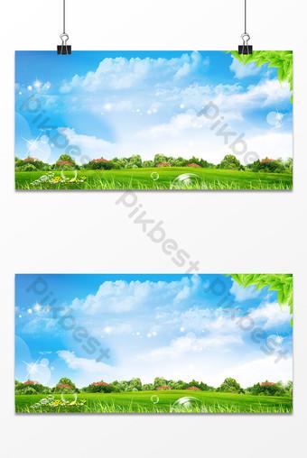 Wiosna piękna naturalna sceneria błękitne niebo i białe chmury reklama tło mapy Szablon PSD