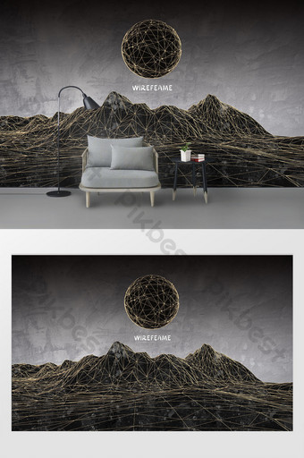 الحد الأدنى الحديثة الإبداعية أبيض وأسود الحديد المطاوع خط جبل القمر خلفية الجدار الديكور والنموذج قالب PSD