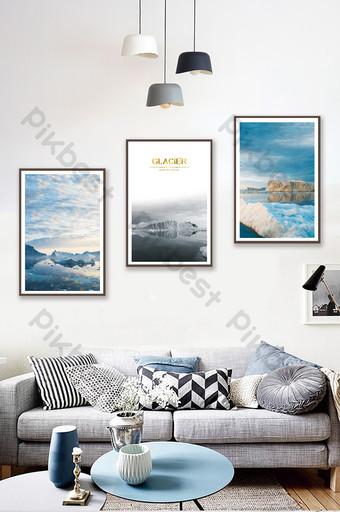 北歐風格唯美風格冰川景觀客廳臥室裝飾畫 裝飾·模型 模板 PSD