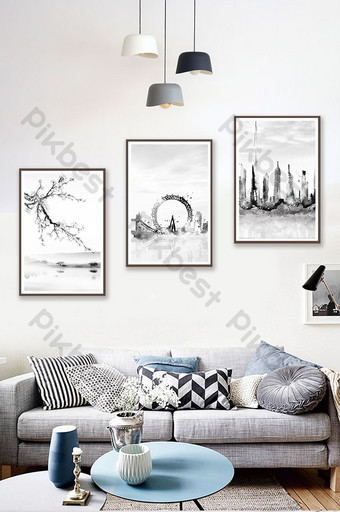 北歐風格黑白創意風景客廳臥室酒店裝飾畫 裝飾·模型 模板 PSD