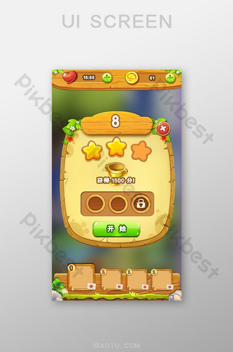 Cute casual game settlement interface made of wood UI Template PSD
