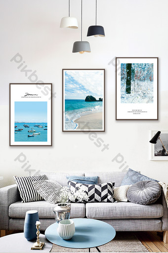 Jane Ou beautiful sea forest scenery living room bedroom hotel decoration painting Decors & 3D Models Template PSD