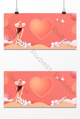 día de la diosa coral naranja hermosa niña amor fondo Modelo PSD