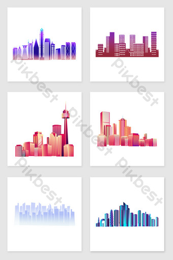 drawing flat style city set of illustration elements Illustration Template PSD