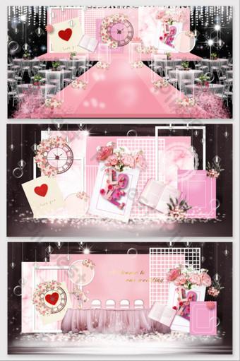 الوردي المغلف رسالة حب موضوع تأثير الزفاف الصورة الديكور والنموذج قالب PSD