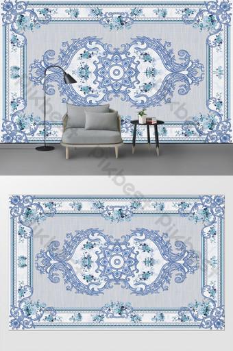 Pared de fondo de dormitorio de sala de estar de patrón floral simple de estilo europeo Decoración y modelo Modelo PSD
