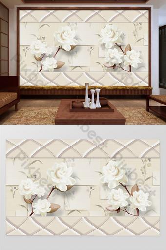 新中式浮雕牡丹花朵軟包客廳臥室背景牆 裝飾·模型 模板 PSD