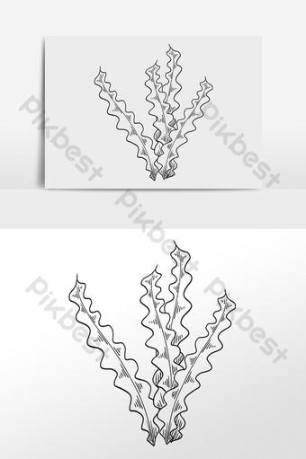 dibujado a mano dibujo lineal de arte negro ilustración de algas Elementos graficos Modelo PSD
