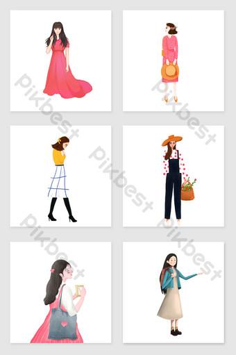 Moda wiosna dziewczyna ilustracja zestaw elementów graficznych Ilustracja Szablon PSD