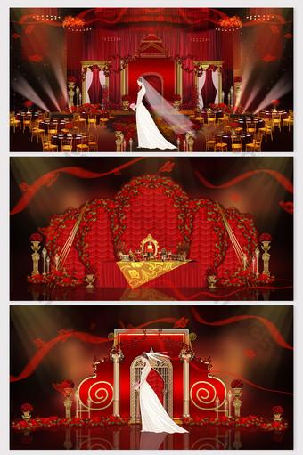 dominantes representaciones de bodas retro europeas de lujo de oro rojo Decoración y modelo Modelo PSD