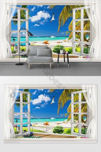 European simple coconut tree seaside living room bedroom background Decors & 3D Models Template PSD