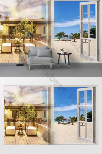الشمال الحد الأدنى الفاخرة غرفة مطلة على البحر الشاطئ خلفية الجدار اللوحة الزخرفية الديكور والنموذج قالب PSD
