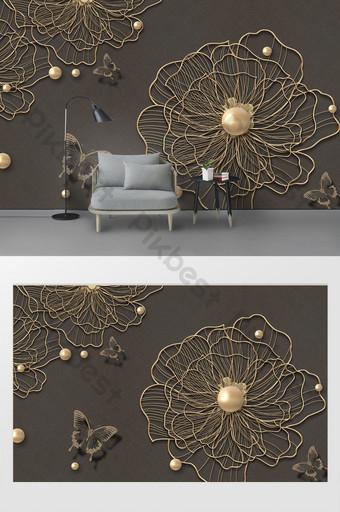 الحديث 3d معدن الحديد المطاوع زهرة جميلة فراشة خلفية الجدار الديكور والنموذج قالب PSD