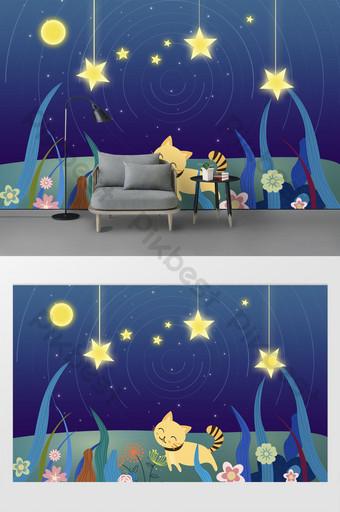 mode modern kartun bunga kucing bulan biru dan dinding latar belakang kamar anak-anak rumput Dekorasi dan model Templat PSD