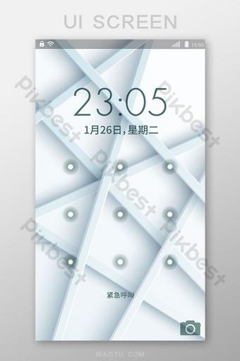 pantalla de bloqueo de cuadrícula blanca interfaz móvil vector ui UI Modelo AI
