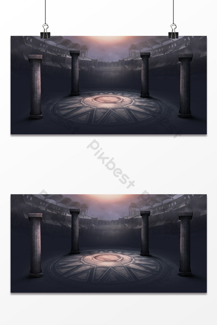 dark color stereo technology sense temple ancient architecture game poster background