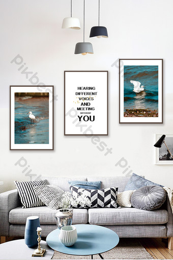 Simple European Sea Birds Landscape Living Room Bedroom Hotel Decoration Painting Decors & 3D Models Template PSD
