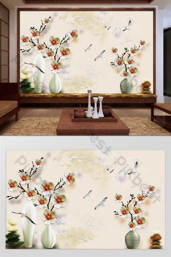 新中式玫瑰花瓶客廳臥室背景牆 裝飾·模型 模板 PSD