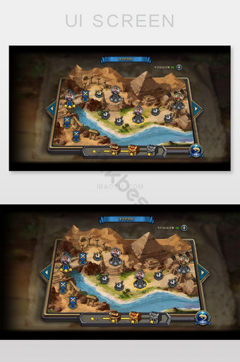 Mid-world style game level selection interface UI Template PSD