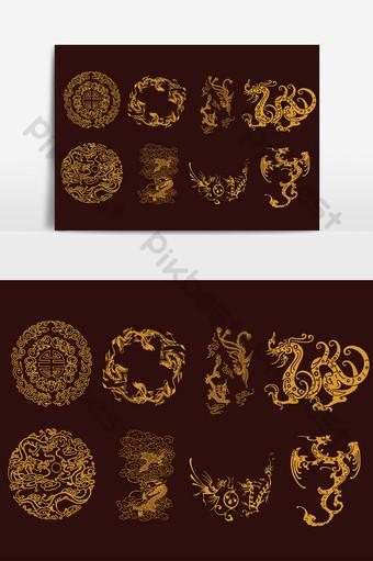 Wektor elementy smoka i feniksa tradycyjnej kultury chińskiej Elementy graficzne Szablon AI