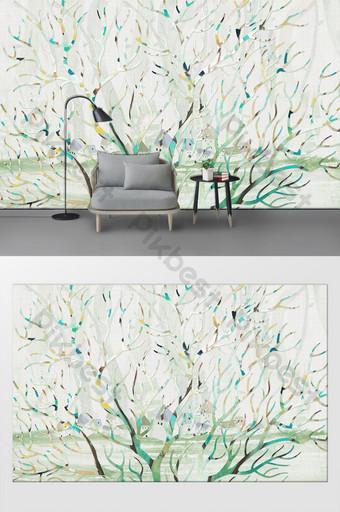 北歐簡約水彩樹客廳臥室背景牆裝飾畫 裝飾·模型 模板 PSD